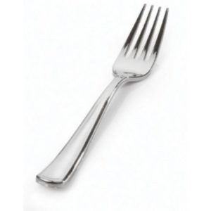 Metallic look silver mini fork 10cm