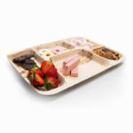 Palm Leaf Rectangle Thali 6 Compartments