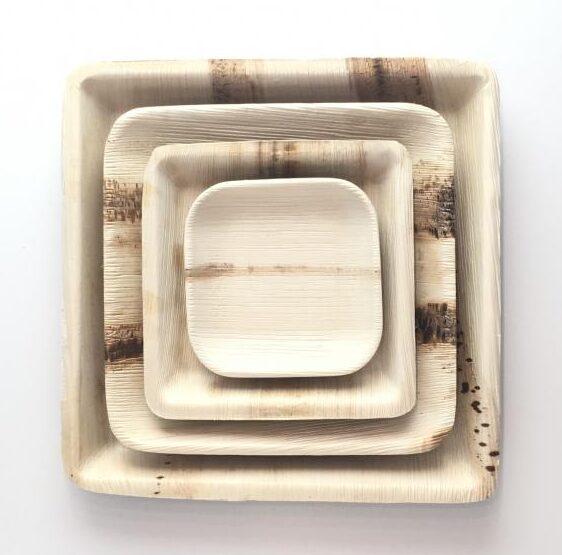 Palm Leaf Square Plates 11-25cm
