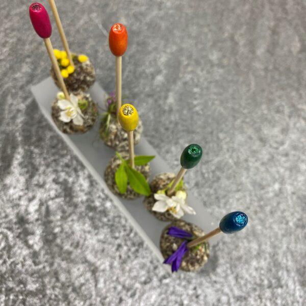 Rainbow Wood Bead Sparkle 10cm